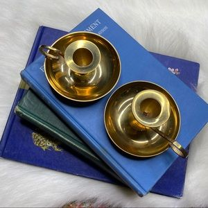 Vintage Accents - 🌲Candlesticks Vintage Distressed Patina Brass Set